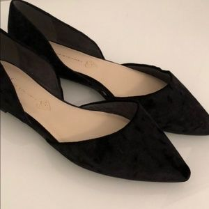 BC Footwear - Black Velvet Point Toe Flat